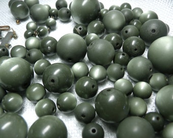 Vintage Beads, Gray Beads, Lucite Beads