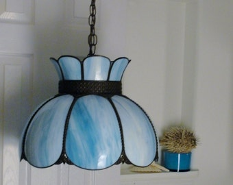 Gorgeous Ocean Blue Swirled Stained Glass Tiffany Style Drop Ceiling Light