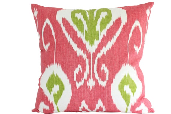 Decorative, Designer Bansuri Ikat Pillow Cover in Green and Raspberry Kravet Fabric