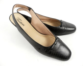 Vintage 60s Mod Preppy Trotters Vegan Black Slingback Pumps Shoes 11 S Slim