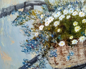 """Oil painting """"Bike and flowers"""""""