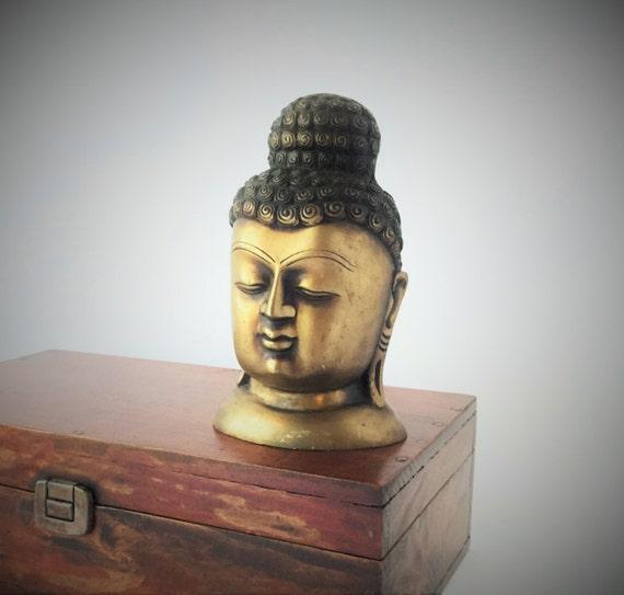 Vintage solid brass buddha head sculpture
