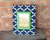 Wood Picture Frame Home Decor Fabric Covered Frame Navy Quatrefoil  Wedding Gift Wall Decor