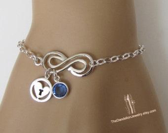 Personalized Infinity Bracelet, Birthstone Bracelet, Initial Bracelet, Sterling Silver Bracelet, Jewelry, Gift