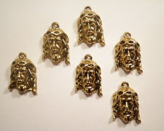 6 Antique Goldplated Jesus Head Figurines