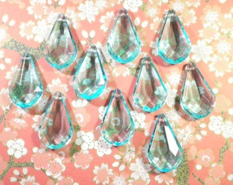 10 Teardrop Faceted Lucite 33mm Chandelier Drops