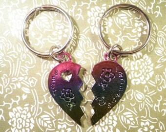 1 Enameled Best Friends Heart Key Chains