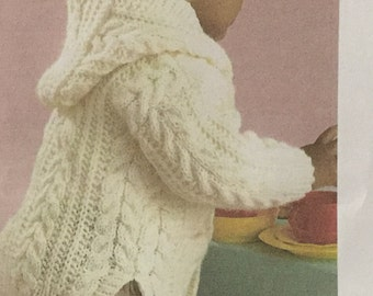 UK/EU SELLER  pdfVintage Knitting Pattern Snuggly Aran Jacket/Cardigan with collar or hood, pockets & side vents. Fits age 3mths to 8 years.