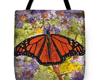 Gift Idea Watercolor Batik Monarch Butterfly on Purple Flowers Decorative Tote Purse Bag
