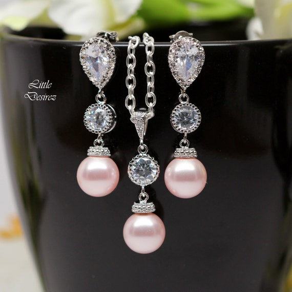 Pearl jewelry set pink earrings and necklace set bridesmaid for Pink wedding jewelry sets