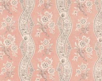 SCHUMACHER FRENCH COUNTRY Chic Floral Bouquets Linen Fabric 10 Yards Blush Pink Gray