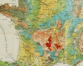1897 Antique geological map of FRANCE. Geology. 120 years old chart