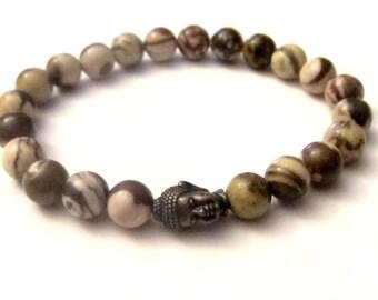Bronze Buddha. Mens Bracelet. Zebra Jasper. Mens Jewelry. Root Chakra. Grounding Bracelet. Chakra Stones.
