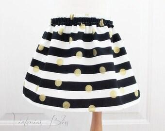Market  Skirt~Black & White (H Stripes)Gold Polka Dots Custom Boutique Girls Skirt, Toddler Girls, Newborn to 5/6 Girls~Victoriasbliss