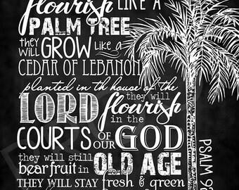 Scripture Art - Psalm 92:12-13 ~ Chalkboard Style