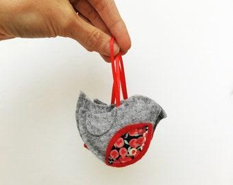 Robin decoration - hand stitched grey felt decoration - liberty art fabric Christmas - robin redbreast - traditional Christmas ornament