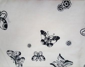 Black Butterflies on Cream Silk