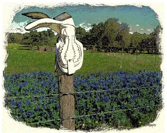 Texas Bluebonnets Cowboy Boot Fence Post Glicee Print - Sing Me the Song of Your People - Korpita