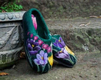 Felted Slippers - Spring Flowers - MADE TO ORDER