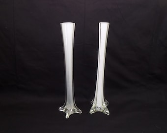 Vintage Blow Glass Tall Slender Fluted Bud Vase Pair - Milky White Glass - Centerpiece Wedding - Mid Century Modern Eiffel Tower Vase