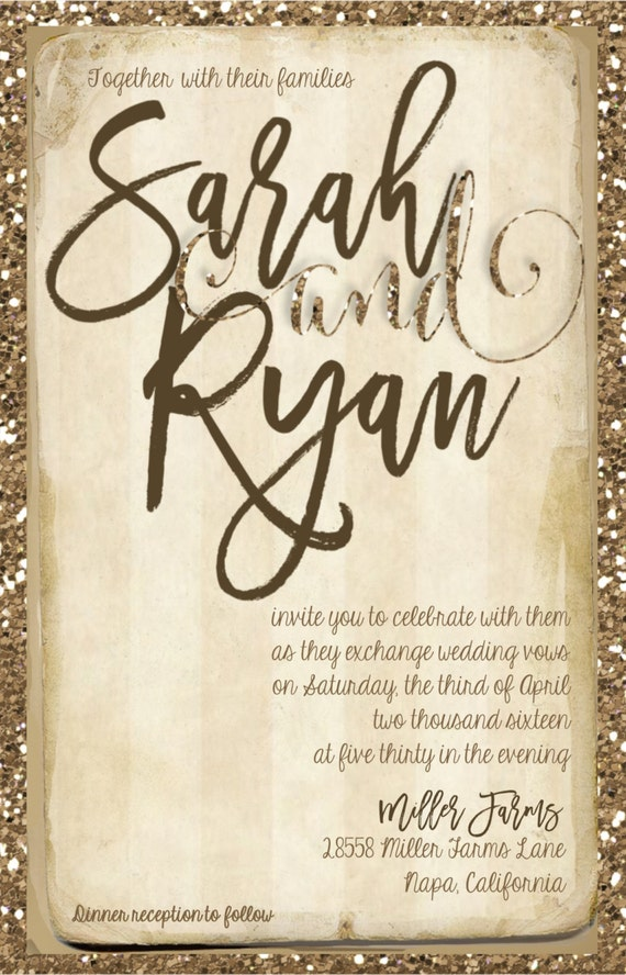 gold glitter wedding invitations gold glitter wedding invitation gold and by joyinvitations 4534