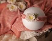 Elena Newborn Set, Newborn Wrap and Tieback Set, Baby Photo Prop, Knit Stretch Wrap and Headband Set