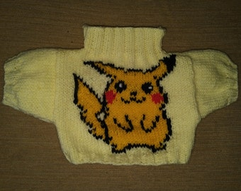 Hand Knitted Sweater to fit Build a Bear with Pikachu on the front