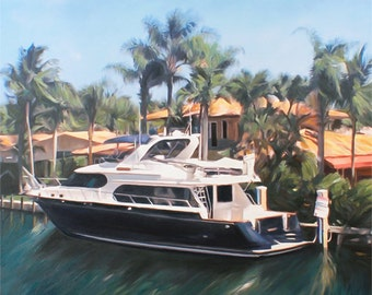 Boat Yacht Painting Portrait Custom Fine Art Oil Painting from Photo Ultimate Gift Idea 24x30
