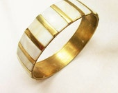 Boho Bangle Brass and Mother of Pearl shell inlay bracelet