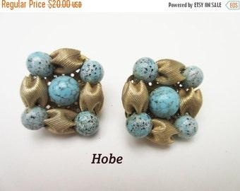 Hobe Bead Cluster earrings robin blue egg and brushed gold tone clip on earrings