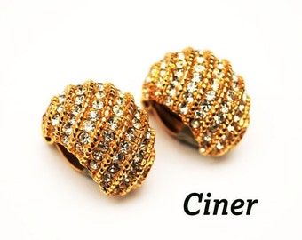 Ciner  Clip on  Earrings Pave Rhinestone gold
