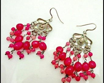 Red Chandalier  Earrings of Ruby gemstone and sterling silver