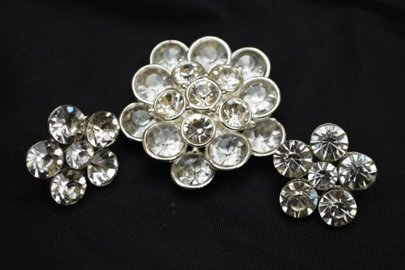 Atomic Brooch  Pierced earrings set - Clear Rhinestone - silver setting - Mid Century