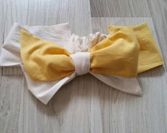 Baby heedband, sequined headband , yellow and white headband