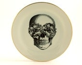 """Altered Sugar Skull Plate 7.48"""" Porcelain Flowers Day of the Dead  Halloween Decor Vintage Mexico Golden Rim Sugar-White Fun Funny Human"""