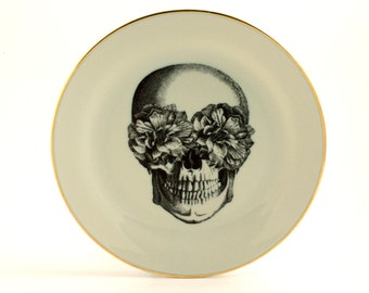 "Altered Sugar Skull Plate 7.48"" Porcelain Flowers Day of the Dead  Halloween Decor Vintage Mexico Golden Rim Sugar-White Fun Funny Human"