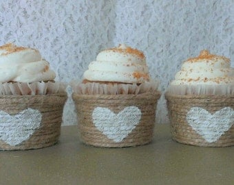 Jute Cupcake Wrappers Papers Decor Unique Initals Speciality Twine Wedding Party Rustic Country