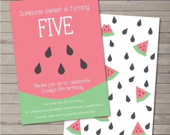 Printable Party Invitation PDF - Sweet Watermelon