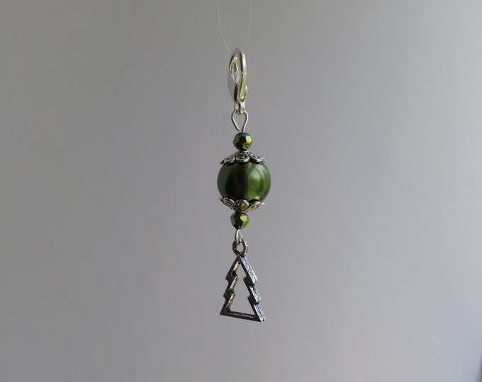 Christmas Tree Keychain Charm, Green Pearl and Crystal Bead Zipper Charm,owl Jewelry, Winter Gift, Grab bag Gift_ CDK #708