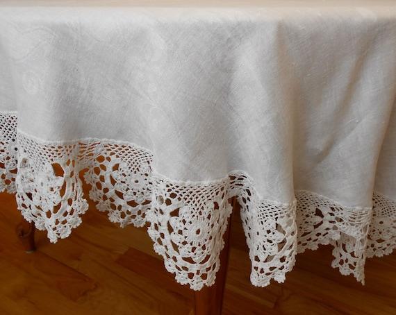 Linen Damask Tablecloth Crochet Lace Trim Round Slightly Oval