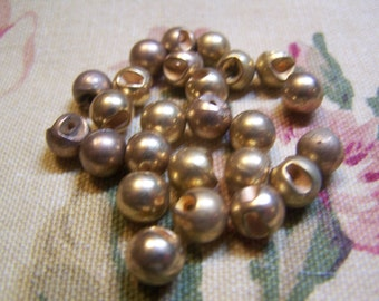 "Vintage 5/16"" Diminutive Brass Tone Ball Doll Buttons, Set of 26 (1713)"