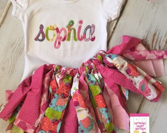 Adorable Shabby Chic Applique Monogram Ruffle Shirt and Matching Fabric Tutu Skirt Cute for First Birthday
