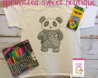 Panda Bear Cool Teen Boys Girls Custom Made Coloring Shirt Washable Reuse Perfect Birthday Child Gift Party Favor Can Add Name