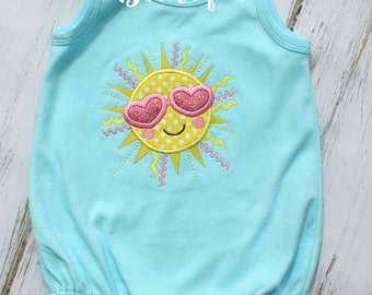 Adorable Summer Smiling Sun Sunshine Applique on Girls Aqua Cotton Bubble Romper Cute for Summer Girls Birthday Party Gift