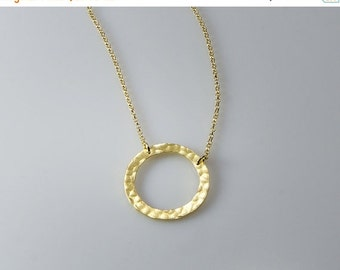 SALE 30% OFF Circle- Gold Necklaces Circle Pendant Silver Circle   Hammered circle Pendant Jewelry Handma