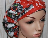 Chalkboard Christmas,Bouffant Women's Scrub Hat, Surgical Scrub Hat, OR Nurses Scrub Hat, Scrub Cap
