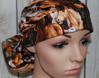 Horses,Surgical Scrub Hat , Women's Surgical Scrub Hat, Vet Tech, Nurses Surgical Scrub Hat, Front Fold Ponytail