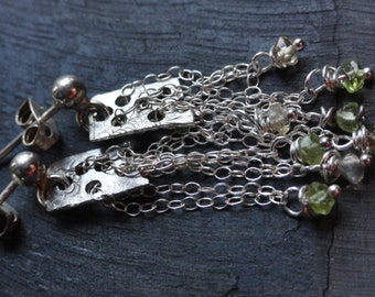 925 silver chain long earrings, raw silver stud earrings, silver chain earrings with semiprecious peridots and citrines