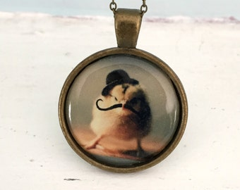 Baby Animal Pendant Necklace Chicken Wearing A Derby Hat Mustache Chicks in Hats Jewelry