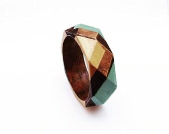 Geometric Wood Bangle Gold and Mint Green
